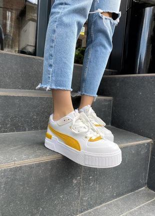 Женские кеды puma cali yellow белые с золотой полосой