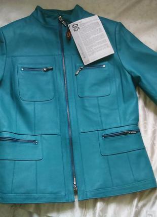 Натуральная телячья кожа, стильная куртка мото, новая