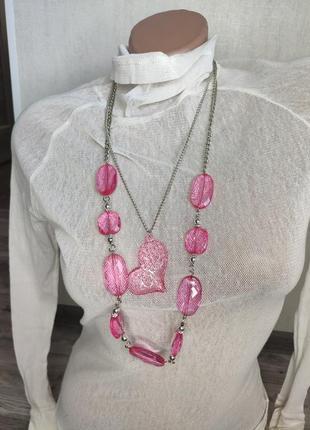 Бусы женские розовые