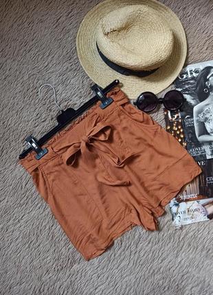 Шикарные шорты с карманами,высокой посадкой и поясом/короткие летние шорты