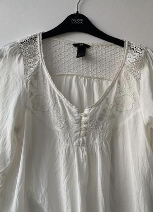 Блузка вишиванка вышиванка бохо стиль hm белая ретро винтаж