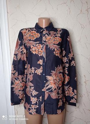 Рубашка сорочка шовк бавовна  в квітковий принт