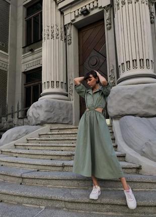 Льняное платье хаки с разрезами