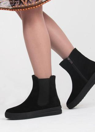 Изящные черные замшевые челси, теплые ботинки зимние на меху полусапожки smart р.36-40
