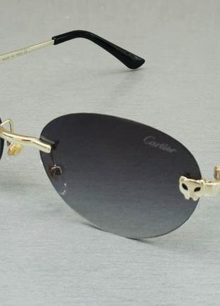 Cartier стильные узкие овальные солнцезащитные очки унисекс безоправные серый градиент