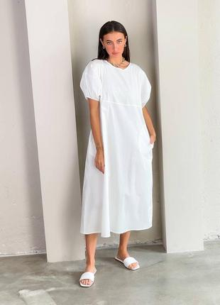 Белое легкое платье из хлопка длины миди