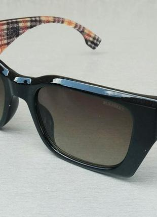 Burberry стильные женские солнцезащитные очки черные с коричневым