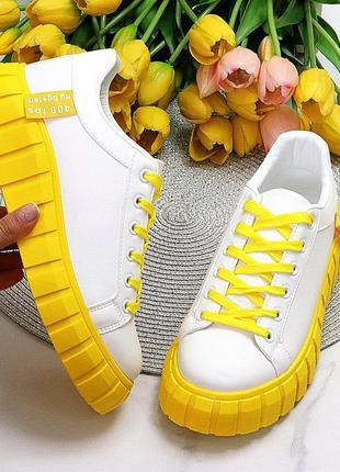 Кроссовки криперы ярко жёлтые