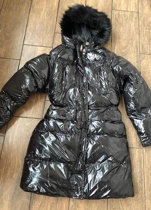 Новый лаковый пуховик с биркой оригинал бренд brave soul куртка чёрный зима с капюшоном