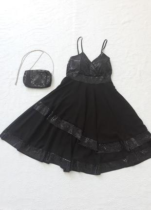 Платье вечернее с пайетками, платье миди h&g, на бретелях, сукня вечірня xs-s