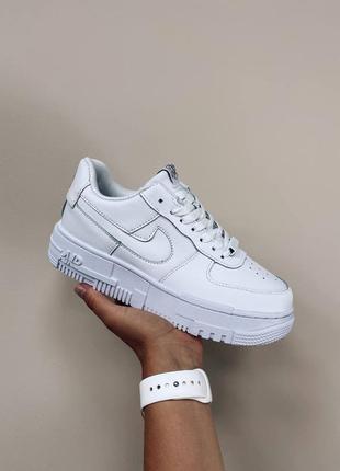 Женские кожаные кроссовки nike air force 1 pixel white