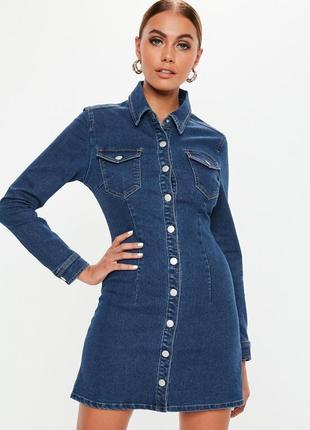 Джинсовое платье-рубашка asos