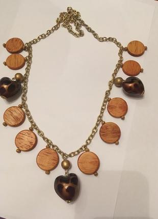 Колье ожерелье бусы винтаж дерево деревянные пластик