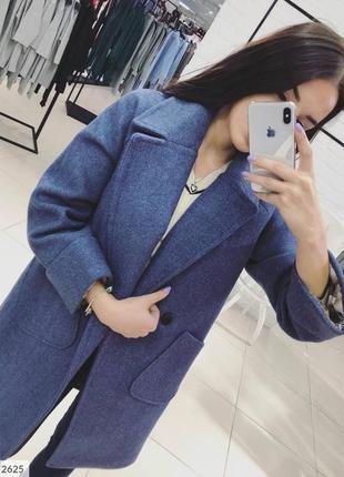 Синее кашемировое пальто турция