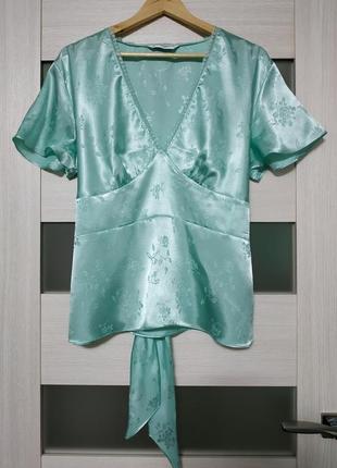 Блуза рубашка атлас бирюзовая