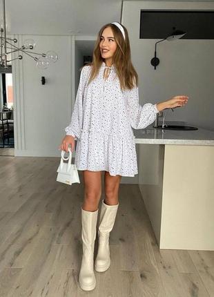 Женское платье, короткое платье, платье в горошек, нарядное платье