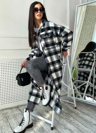 Трендовое пальто-рубаха кашемир