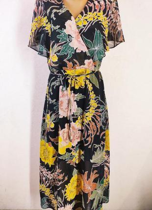 Очаровательное шифоновое цветочное платье миди