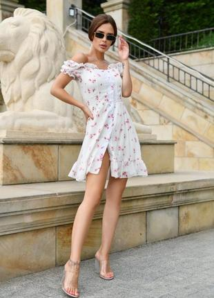 Нежное летнее шифоновое мини платье сарафан га пуговицах открытые плечи цветочный принт до