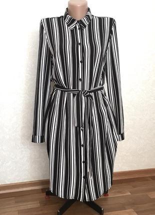 Удлиненная рубашка в полоску платье