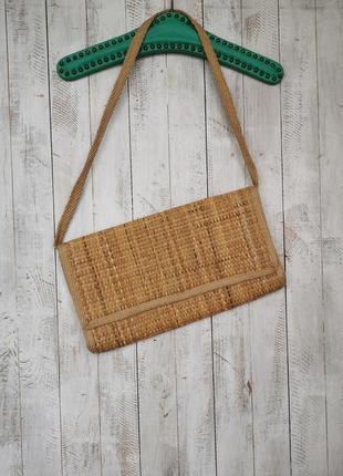 Натуральная соломенная сумка клатч