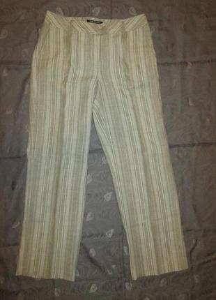 Льняные женские штаны в полоску betty barclay брюки 100% лен р. m - l