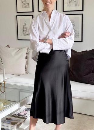 Сатиновая юбка миди, из вискозы zara