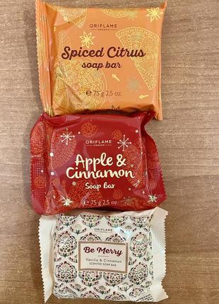 Мыло oriflame ваниль+корица, яблоко+корица, цитрус