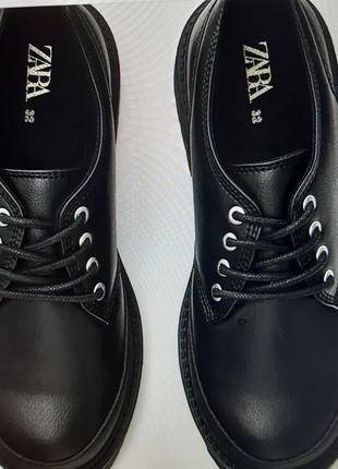 Черные туфли на шнурках  zara kids