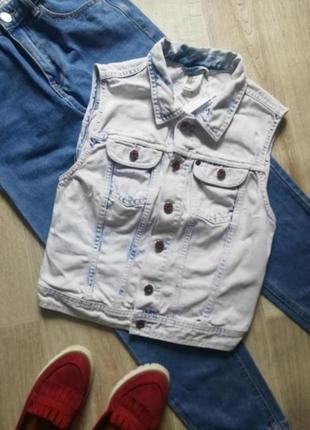 Джинсовая жилетка, желетка джинсы, джинсовка, джинсовая куртка безрукавка