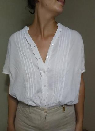 Блузка блуза рубашка белая оверсайз свободная прямая легкая воздушная прозрачная пляж пляжная  хлопок