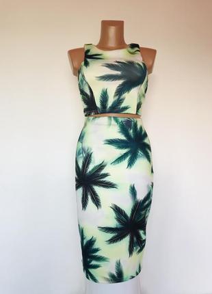 Шикарный эфектный яркий брендовый костюм топ юбка карандаш миди в пальмы 🌴