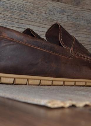 Мужские коричневые кожаные мокасины