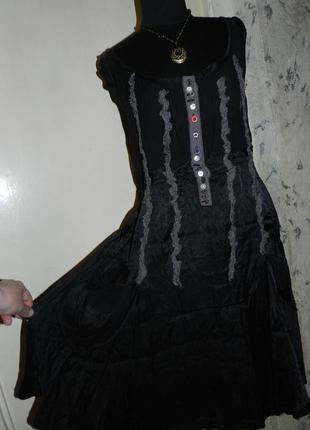 Натуральное,очаровательное,платье-сарафан с карманами,вышивкой,бохо,desigual
