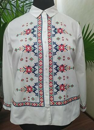 Хлопковая рубашка-вышиванка, батал, размер 20-22