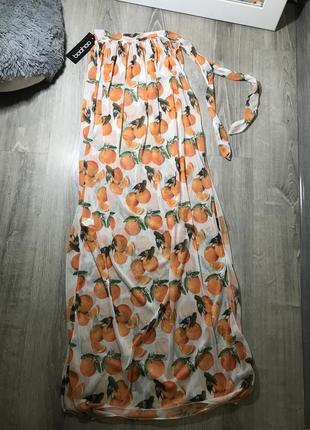Пляжная юбка на купальник парео  в апельсины
