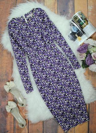 Элегантное платье-футляр в бело-фиолетовый узор 0520 marks & spencer  размер uk6/34 (xs/s)