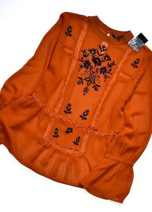 Peacoks новая шифоновая блуза в фольклорном стиле с вышивкой. 2хл.16.44