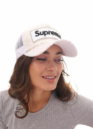 Белая кепка , кепка с козырьком, бейсболка 57 , женская бейсболка