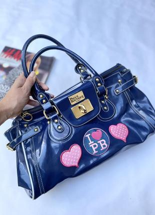 Брендовая вместительная сумка в синем цвете необычная модная трендовая