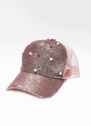 Розовая кепка , кепка со стразами , летняя кепка, женская кепка