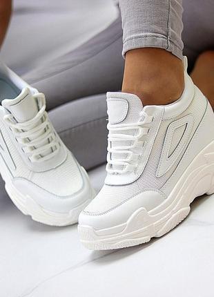 4.08 новое получение!кроссовки на платформе сникерсы белые дешево!лучшая  цена