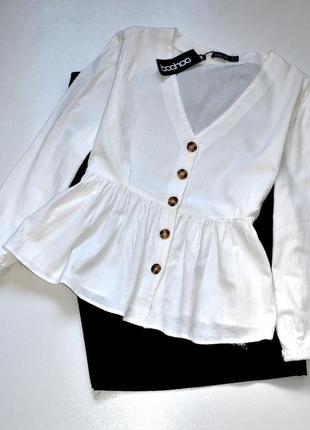 Boohoo новая блуза цвета айвори с баской   .2хл.16.44