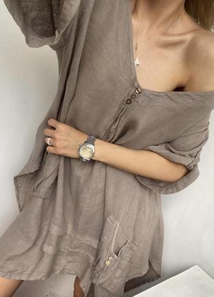 Стильное объемное льняное платье туника, блуза бохо из льна льон италия
