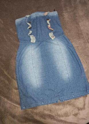 Летний тонкий джинсовый сарафан