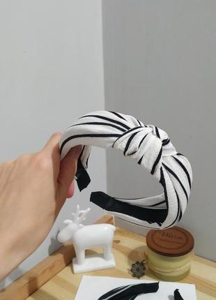 Тренд ободок на волосы черный белый полосатый обруч чалма повязка бант новый