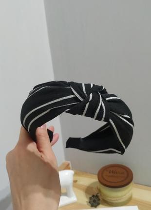 Тренд обруч для волос черный полосатый ободок новый бант чалма