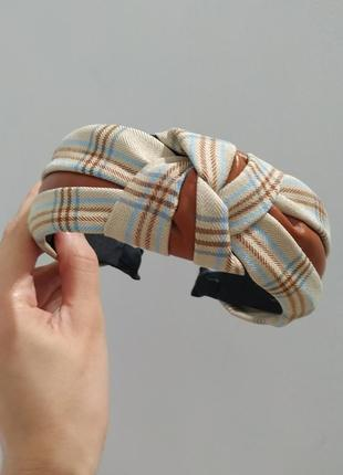 Крутой ободок на волосы бежевый коричневый чалма повязка бант обруч новый тканевый кожаный