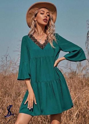 Свободное изумрудное платье2 фото