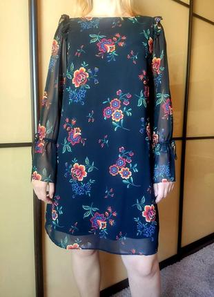 Нарядное черное платье с цветочным  принтом длинные рукава  от marks & spencer7 фото